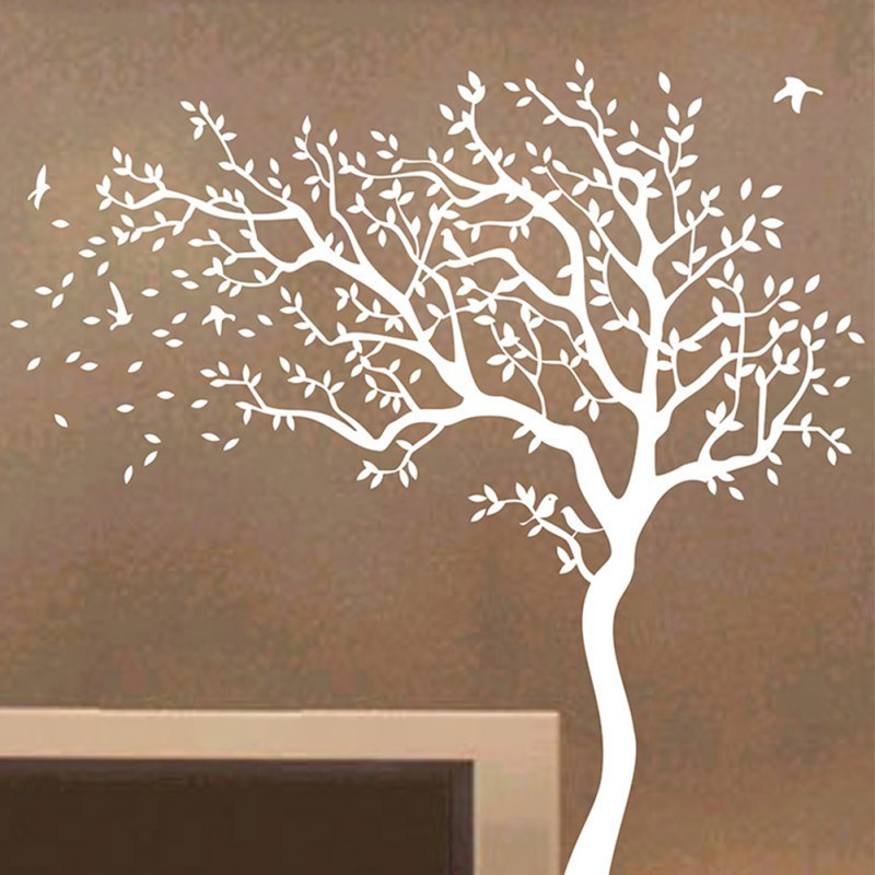 ... Huge Tree Wall Decals Removable Nursery Mural Sticker White Tree Wall  Decal ...