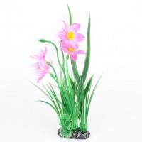 Hot Plastic Orchid Grass Fish Tank Aquirium Base Plan t/Grass Pink Green Leaves
