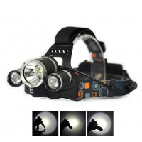 2015 5000LM 3-Head  1T6 2R2 LED Recharge 18650 Headlamp Headlight Light Lamp