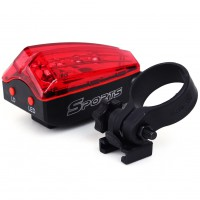 2 Laser Beam 5 LED Rear Tail Safety Flashing Light for  Bike MTB Bicycle