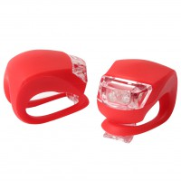 2 LED Bicycle Cycling Frog Front Rear Flash Light Warning Lamp GEL Silicone Red