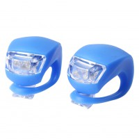 2 LED Bicycle Cycling Frog Front Rear Flash Light Warning Lamp GEL Silicone Blue