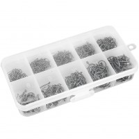 500pcs 10 Sizes Black Silver Fish Fishing Sharpened Hooks With Box