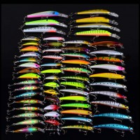 60pcs 3D Assorted Fishing Tackle Lures Minnow Lure Crank Bait Mixed 8 Models