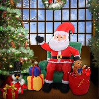 1.5M Inflatable Christmas Santa Teddy Bear Presents Christmas Tree Yard Art Deco