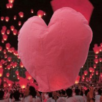 10pcs Heart Shape Chinese Lanterns Paper Sky Fire Lamp For Wish Wedding Party