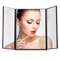 Travel Mirror Tri-Fold Lighted Led Mirror Lighted Makeup Mirror 3 Way Mirror