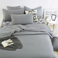 2.2M Solid color Grey+Zebra Home Bedding /Duvet Cover Bed Sheet Pillowcase Set