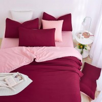 2.0M Solid color Wine Red Home Bedding /Duvet Cover Bed Sheet Pillowcase Set