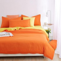 1.2M Solid color Orange Design Bedding / Duvet Cover Bed Sheet Pillowcase Set