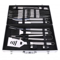 24Pcs Stainless Steel Barbecue Set w/Aluminum Carrying Case Outdoor Grill Tool
