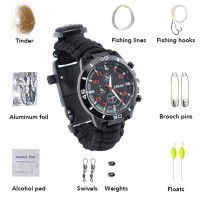 16-in-1 Water Resistant Survival Tactical Emergency Watch Compass Hiking Camping