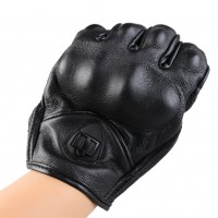 1*Pair M/L Black Man Genuine Leather Full Finger Motorcycle Glove Driving Gloves