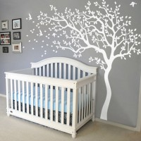 Huge Tree Wall Decals Removable Nursery Mural Sticker White Tree Wall Decal