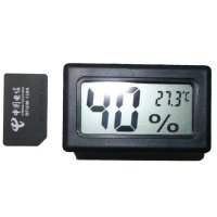 Small Digital Wireless Hygrothermograph Reptile Feeding Thermometer Hygrometer Black