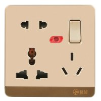 13A Wall-Mount Socket Panel Three Outlets With Indicator Light Golden 13A-1