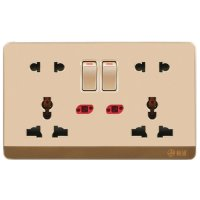 13A Wall-Mount Socket Panel Four Outlets With Indicator Light Golden