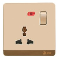 13A Wall-Mount Socket Panel Single Outlet With Indicator Light Golden