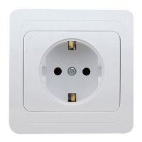 16A Wall Mount Socket Panel Single Outlet German Standard White