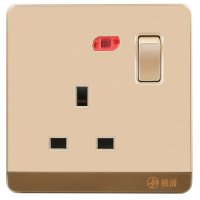13A Wall-Mount Socket Panel Single Outlet with Indicator Light British Standard Golden