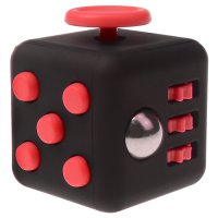 Anxiety Fidget Dice Toy Stress Relief Cube Decompression Rubik #11 Black Red