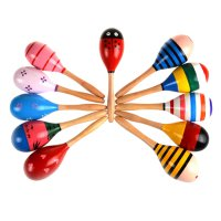 Baby Toy Musical Wooden Sand Hammer Cartoon Pattern Sand Hammer Random Deliver