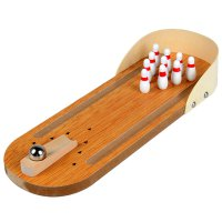 Children Toy Mini Wooden Bowling For Relaxing Table Game Wood+White+Red