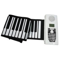 49 Keys Silicon Flexible Roll Up Electronic Piano Keyboard with Louder Speaker White