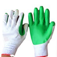 Dipping Labor Protection Gloves Thicken Wear Resistant Anti Slip Gloves Green