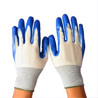 Butyronitrile Nylon Coating Labor Protection Dipping Gloves Blue