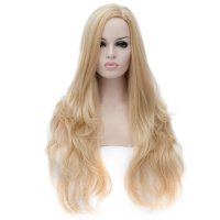 Cosplay Wig Pale Gold Euramerican Style Off-Center Straight Hair Wig
