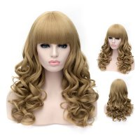 Cosplay Wig Neat Fringe Short Curly Wig Flaxen