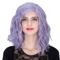 COS Wig Halloween Theme Wig A480 SW1898 Short Curly Hair Blue Purple