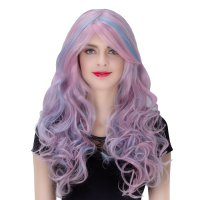 COS Wig Halloween Theme Wig A902 LW124 Long Curly Hair Blue Pink