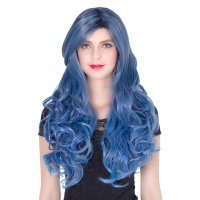 COS Wig Halloween Theme Wig A263 LW1406R Long Curly Hair Blue Fading