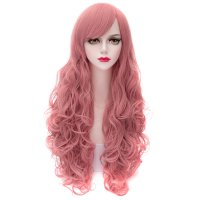 2312 Cosplay COS Wig Sideswept Bangs Long Curly Hair Pink