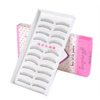 10 Pairs Handmade Long Black Thick Cross False Eyelashes 7676B 218#