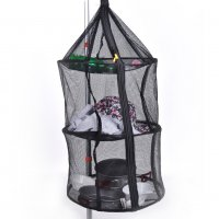 3 Levels Outdoor Kitchen Dish Hanging Dry Net Foldable Storage Basket Tableware
