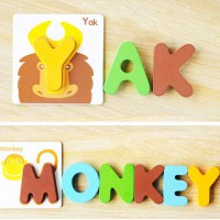 Multicolor Educational Play Cute Funny Animal Letters Jigsaw Puzzle Combination