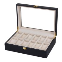 10/12 Grids Slots Black Matt Wood Watches Jewelry Storage Organizer Case