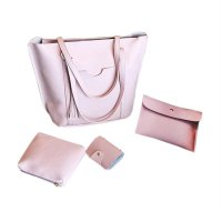 4PCS/SET Fashionable Design Women Large Capacity Tassel Single Shoulder Bag