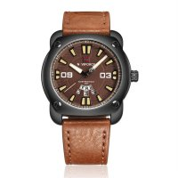 9096 Men Waterproof Watch Leather Wristband Quartz Movement Watches