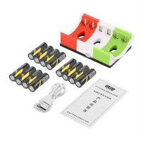 12pcs Rechargeable Batteries+6 Slots AA & AAA Ni-MH Charger+USB Cable