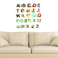 26 Alphabets Animals Cartoon Removable Wall Stickers For Kids Nursery Room