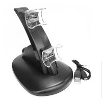 Black LED Light Quick Dual USB Charging Dock Stand Charger For PlayStation 3
