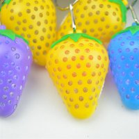 1PC Strawberry Shaped LED Light Plastic Luminous Keyring (Random Color)