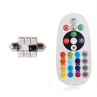 1 Pair 36mm 5050 6SMD RGB LED Car Interior Reading Lights With Remote Control