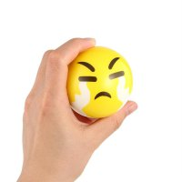Yellow Facial Expression Stress Relief Sponge Foam Balls Hand Squeeze Toy