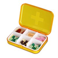 Portable Clear Pill Box Vitamin Case with Multiple Compartment Container