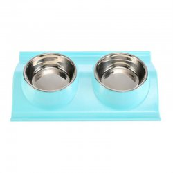 Leak-proof Double Side Stainless Steel Plastic Pet Bowl Water Food Container